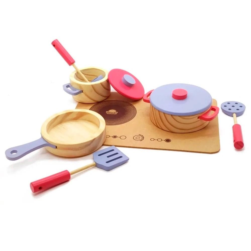 Cooktop com Panelas e Utensílios Brinquedo de Madeira - NewArt