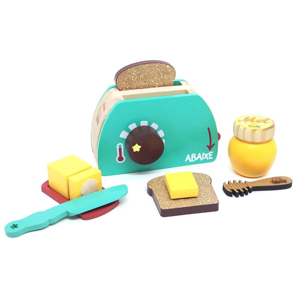 Brinquedo de Madeira Kit Torradeira Coleção Comidinha - NewArt
