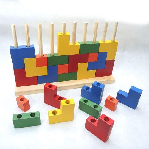 Brinquedo Educativo Blocos de Encaixe  Madeira - Carimbras
