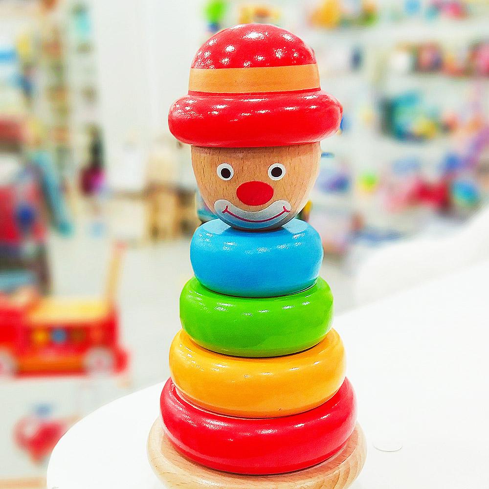 Brinquedo Educativo de Madeira Para Bebê Torre Palhaço - Tooky Toy