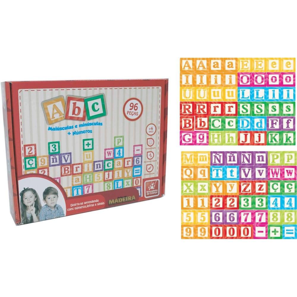 Brinquedo de Alfabetização ABC Letras Maiúsculas Minúsculas Números e Sinais 96 Peças - Brincadeira de Criança