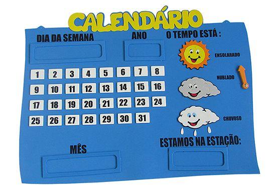 Calendário em EVA para Sala de Aula com Condição do Tempo