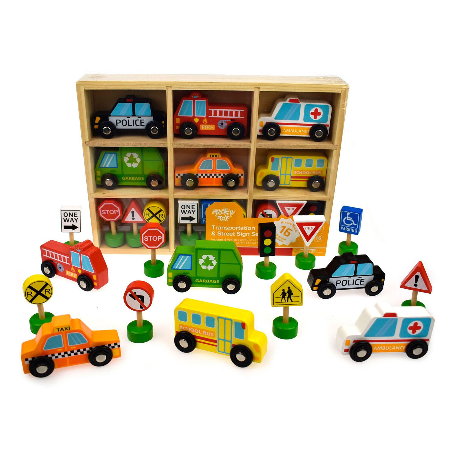 Carrinhos e Placas de Trânsito em Madeira - Tooky Toy