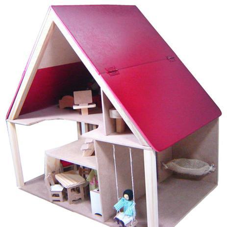 Casa de Boneca em Madeira - Chalé com Móveis