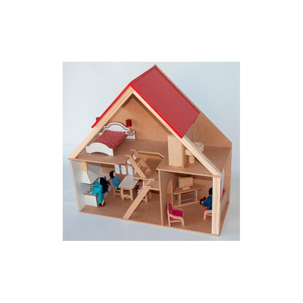 Casa de Boneca em Madeira - Loft com Móveis