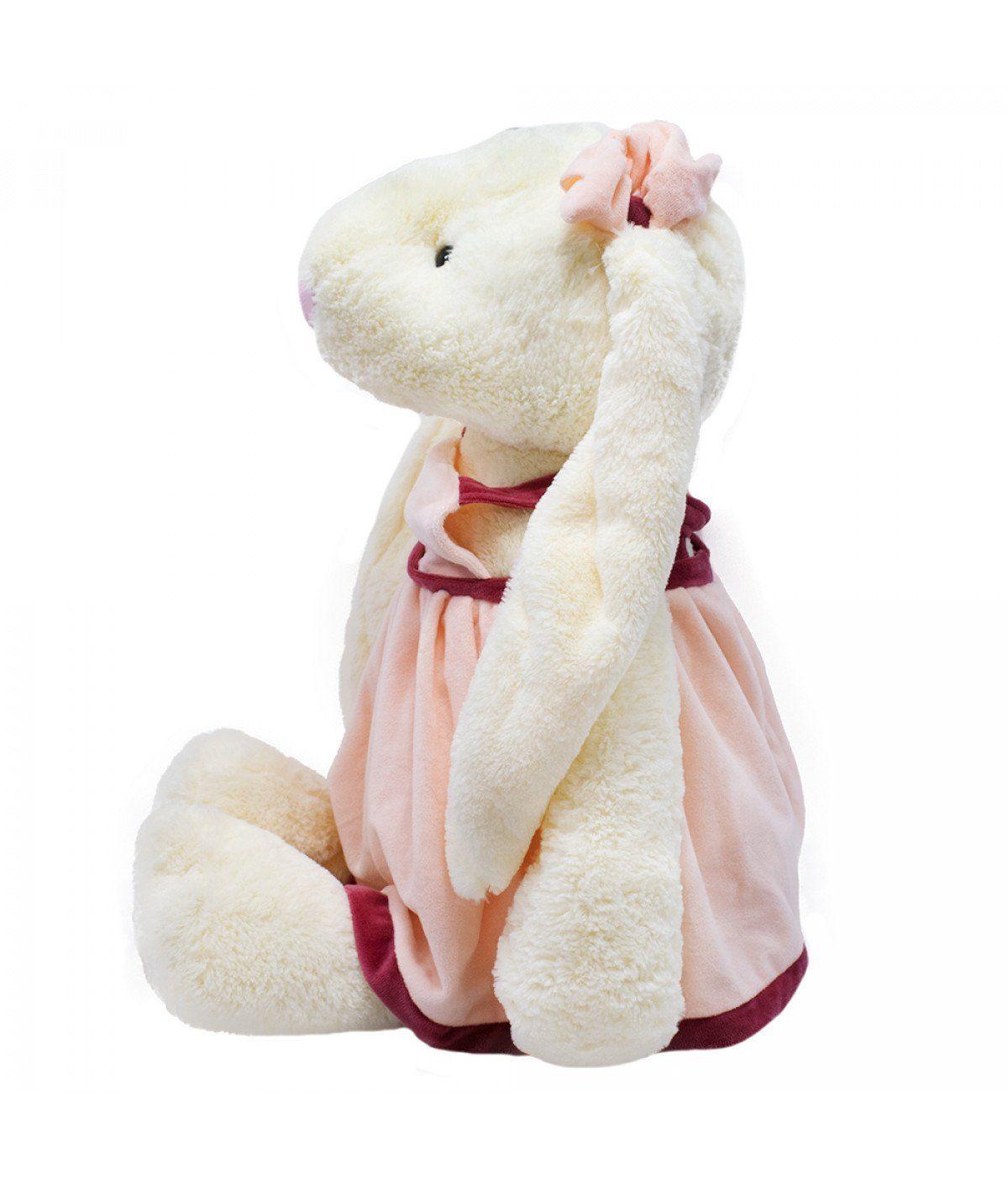 Coelha de Pelúcia Grande com Vestido Rosa