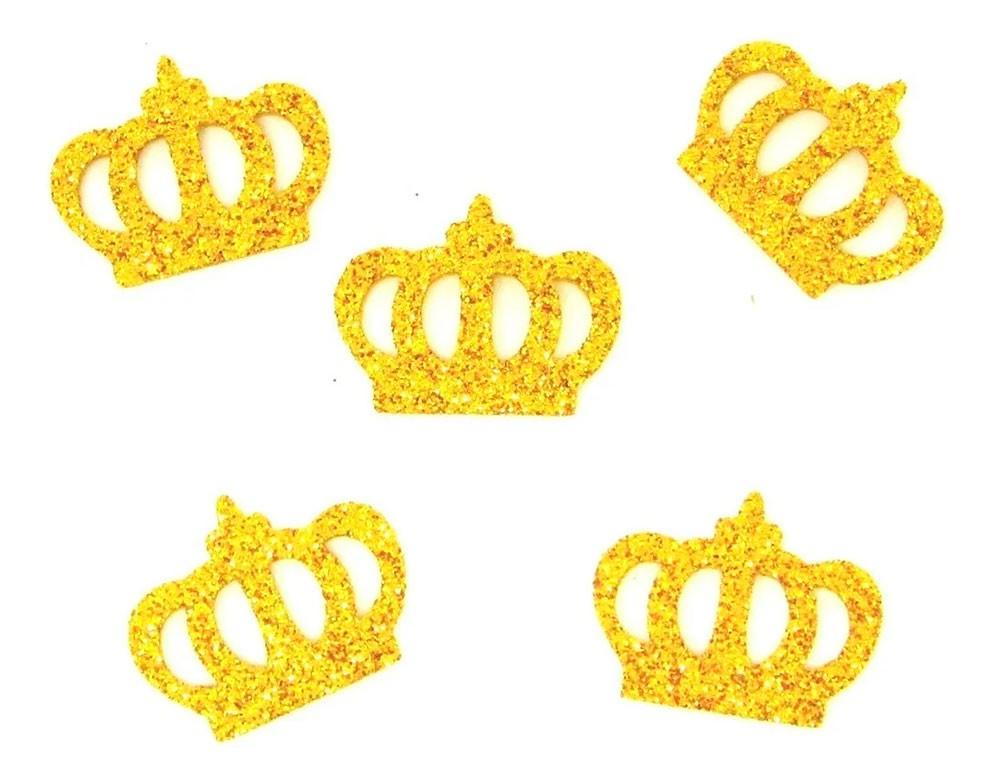 Coroa Dourada em Eva Com Glitter - Kit Com 300 Unidades