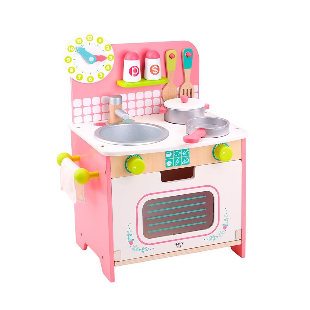 Cozinha Infantil de Madeira Branca e Rosa - Tooky Toy