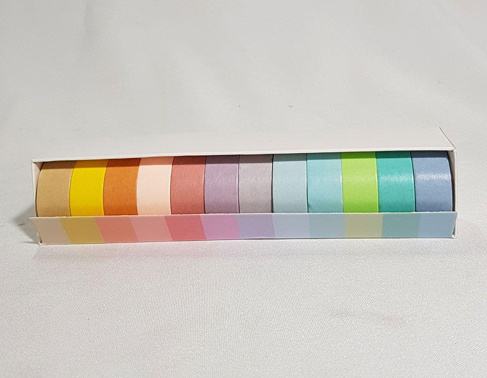Fita Adesiva colorida Kit com 12 Unidades