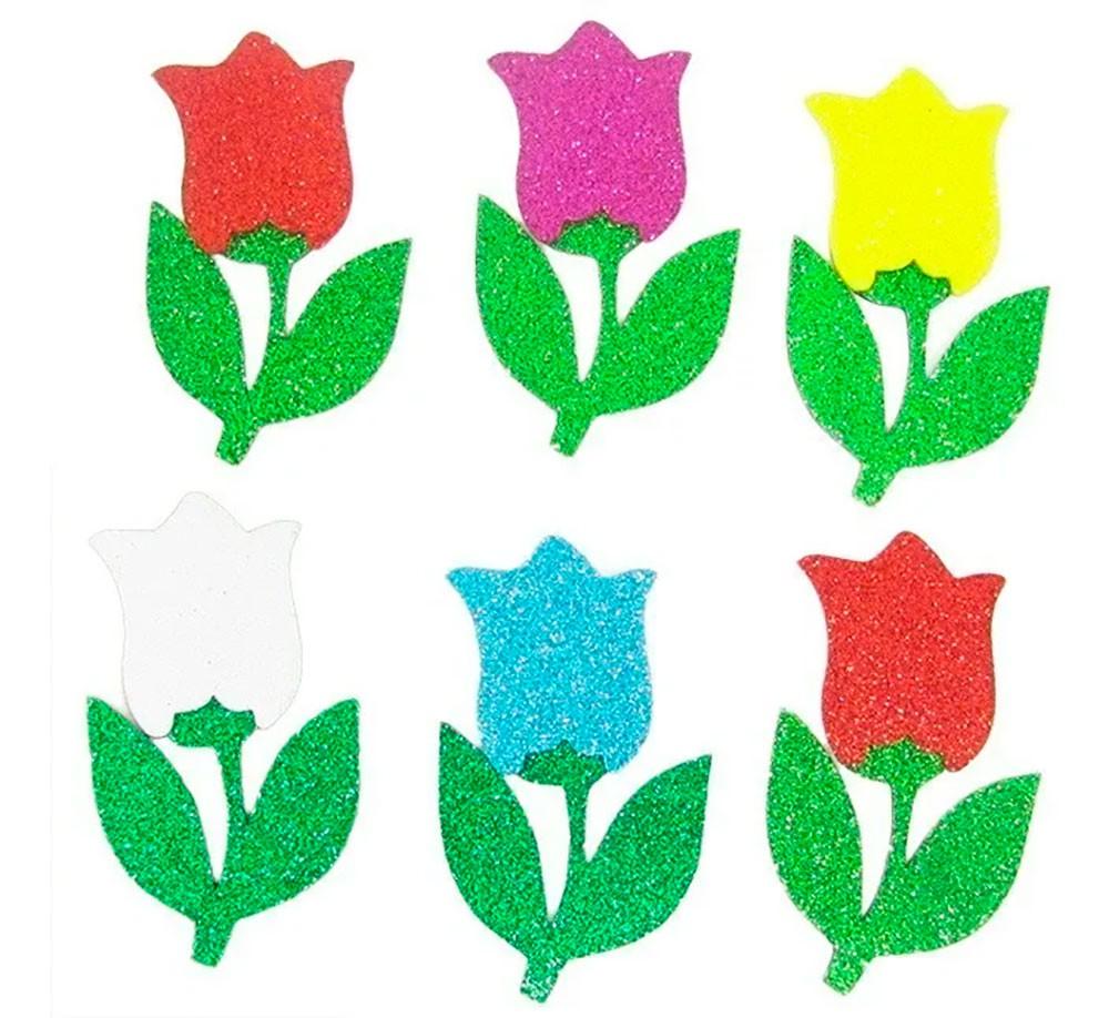 Flor Tulipa Eva com Glitter- Kit com 6 Unidades