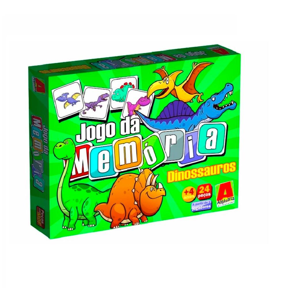 Jogo da Memória de Dinossauro em Madeira Mdf 24 peças - Algazarra Brinquedos