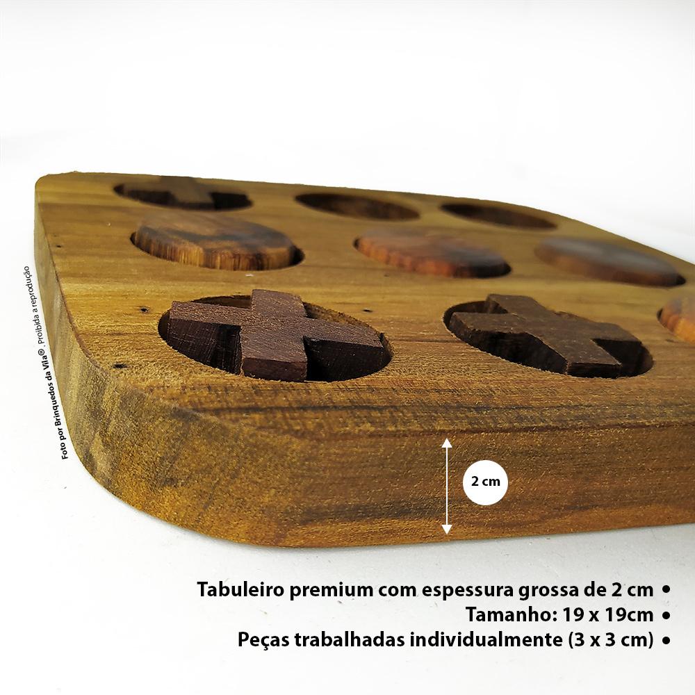 Jogo da Velha Artesanal com Tabuleiro em Madeira de Demolição Brinquedo Tradicional
