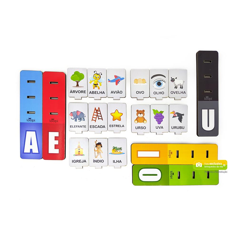 Jogo das Vogais 15 peças com Desenhos e Nomes para Alfabetização - Loopi Toys