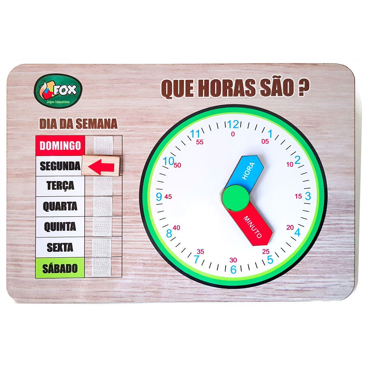 Relógio Educativo em Mdf - Fox