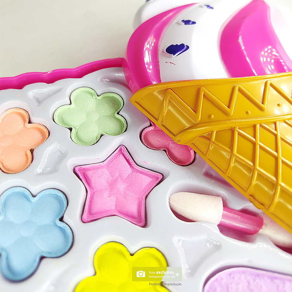 Kit de Maquiagem para Boneca com Paletas de Sombras em Estojo Sorvete - Beauty Cute Toys