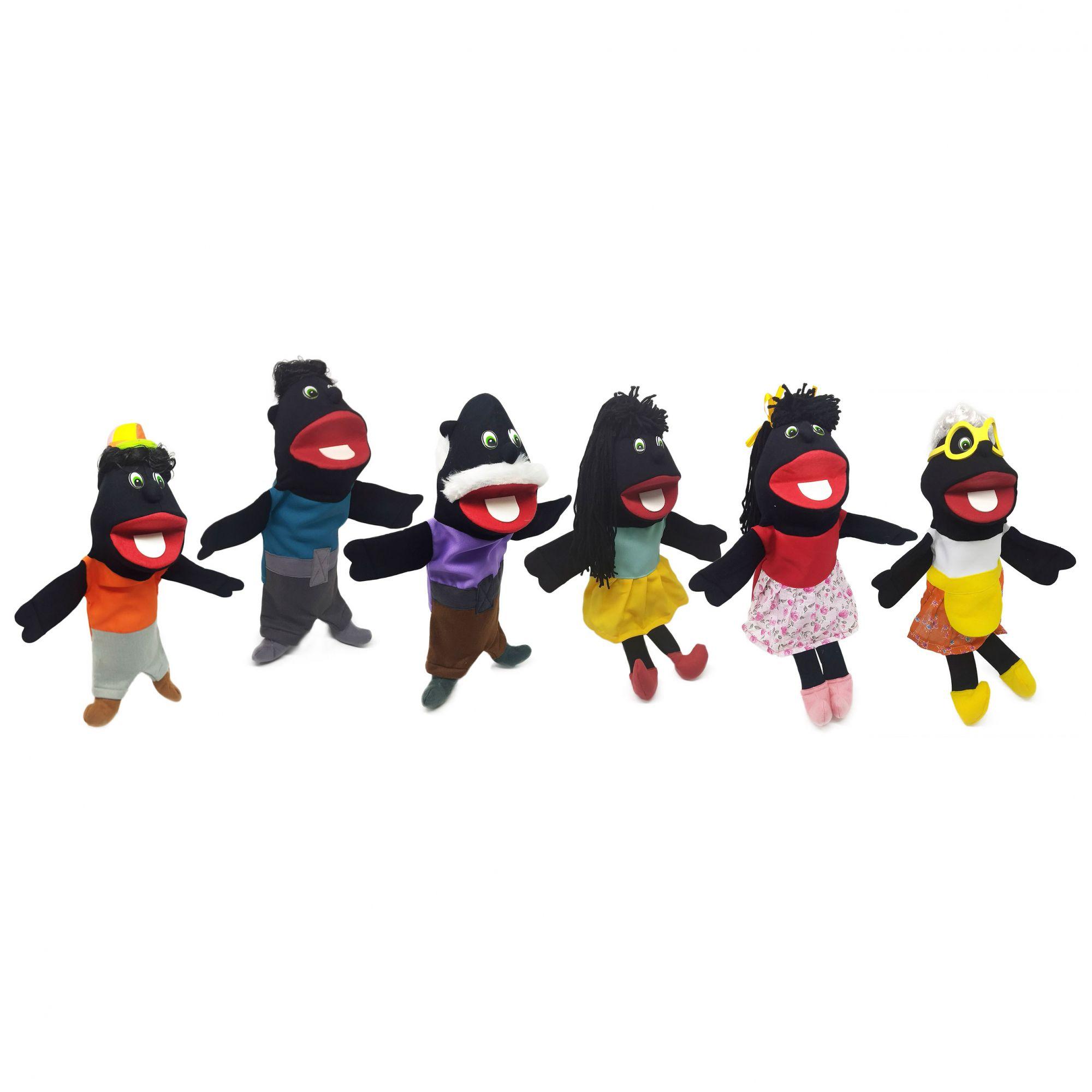Kit Fantoche Família Negra 06 Personagens