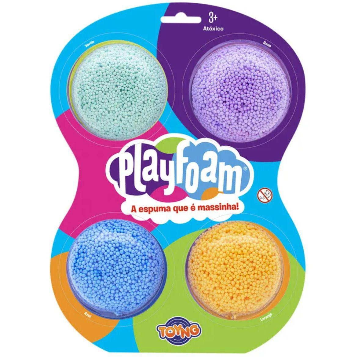 Kit Massinha Modelar Espuma 4 Cores Clássicas Playfoam - Toyng