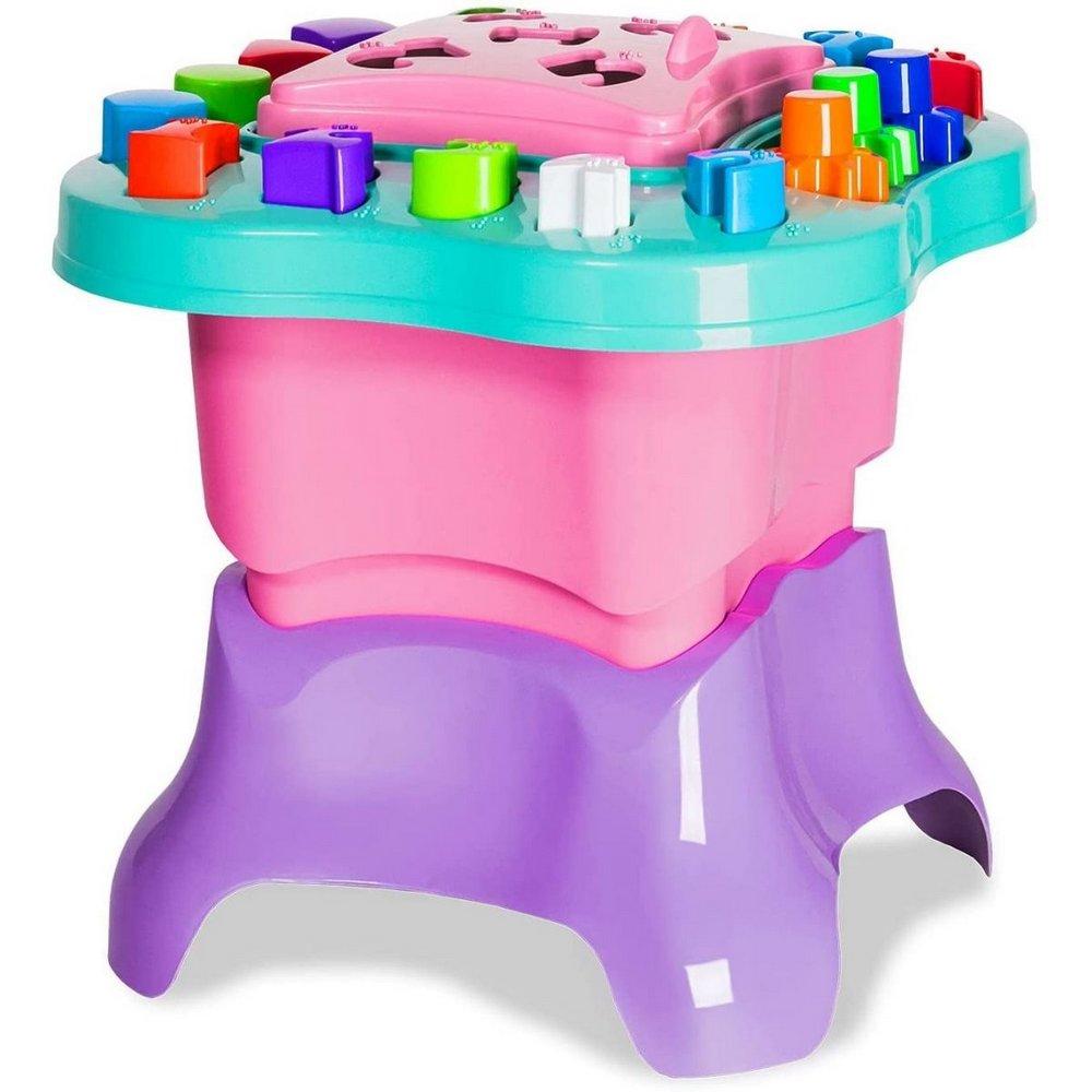 Mesa de Atividades para Crianças com Letras Números e Acessibilidade em Braille - Cardoso Toys