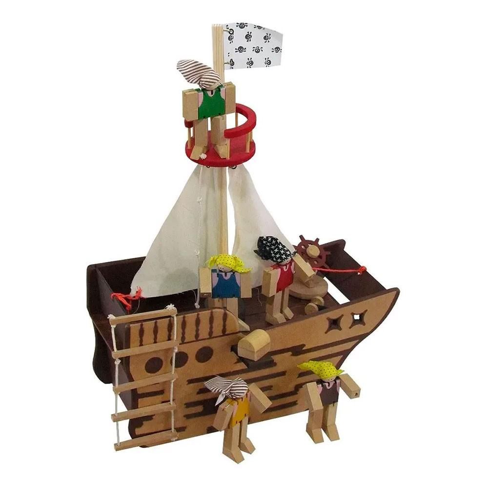 Navio Pirata em Madeira com Bonecos e Acessórios