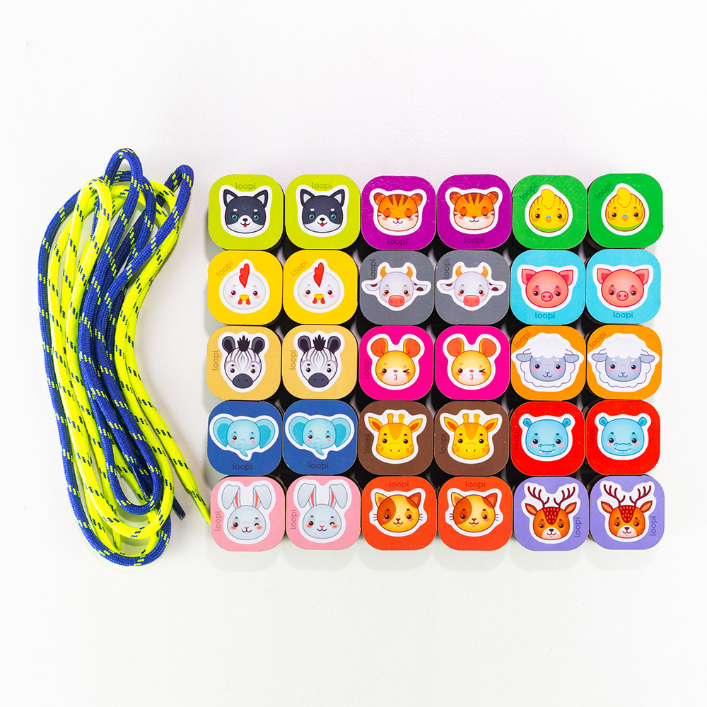 Passa Blocos dos Animais Alinhavos e Peças de Empilhar - Loopi Toys
