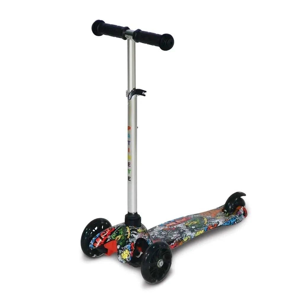 Patinete 3 Rodas Spin Roller Ajustável com Luzes de LED - Infantil