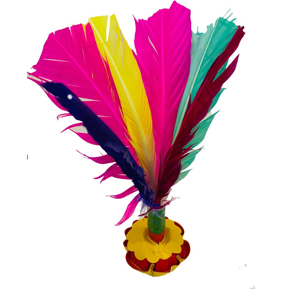Peteca Tradicional Base De Couro Sintético e Penas Coloridas