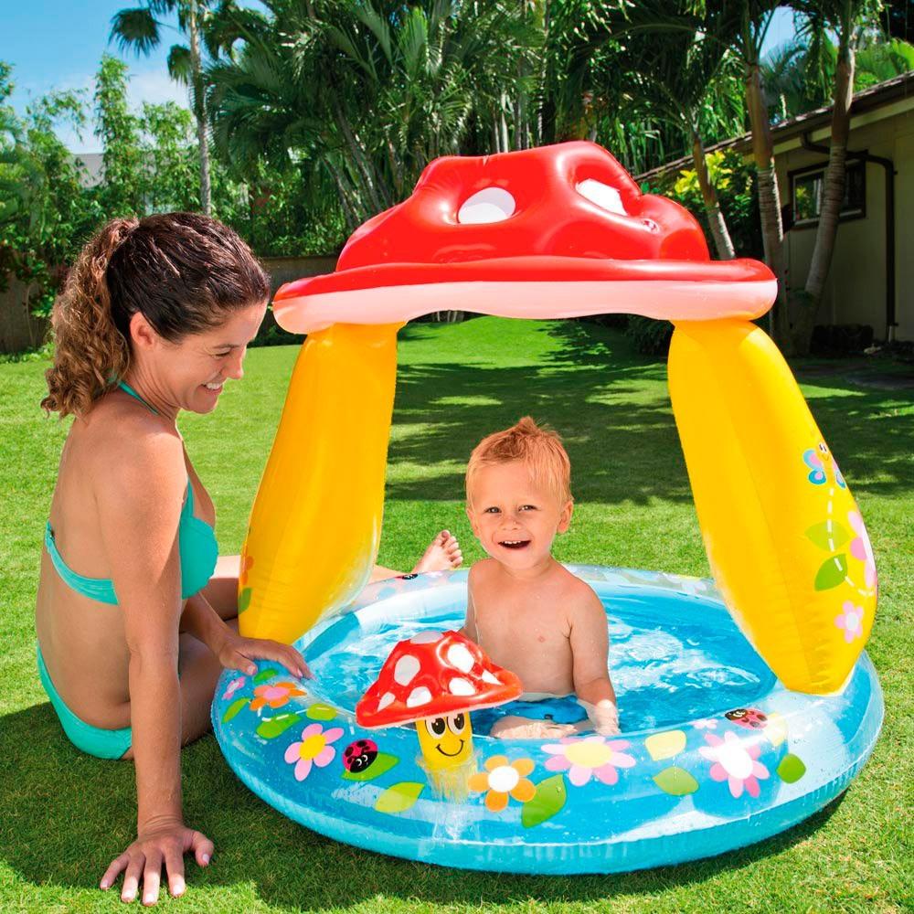 Piscina Inflável Infantil Cogumelo com Cobertura 45 Litros - Intex