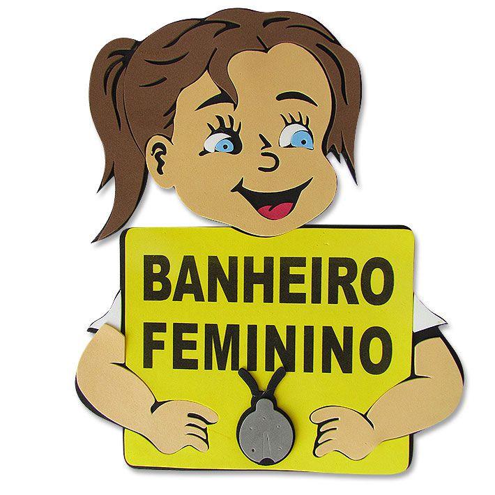 Placa de Banheiro Feminino Infantil em Eva