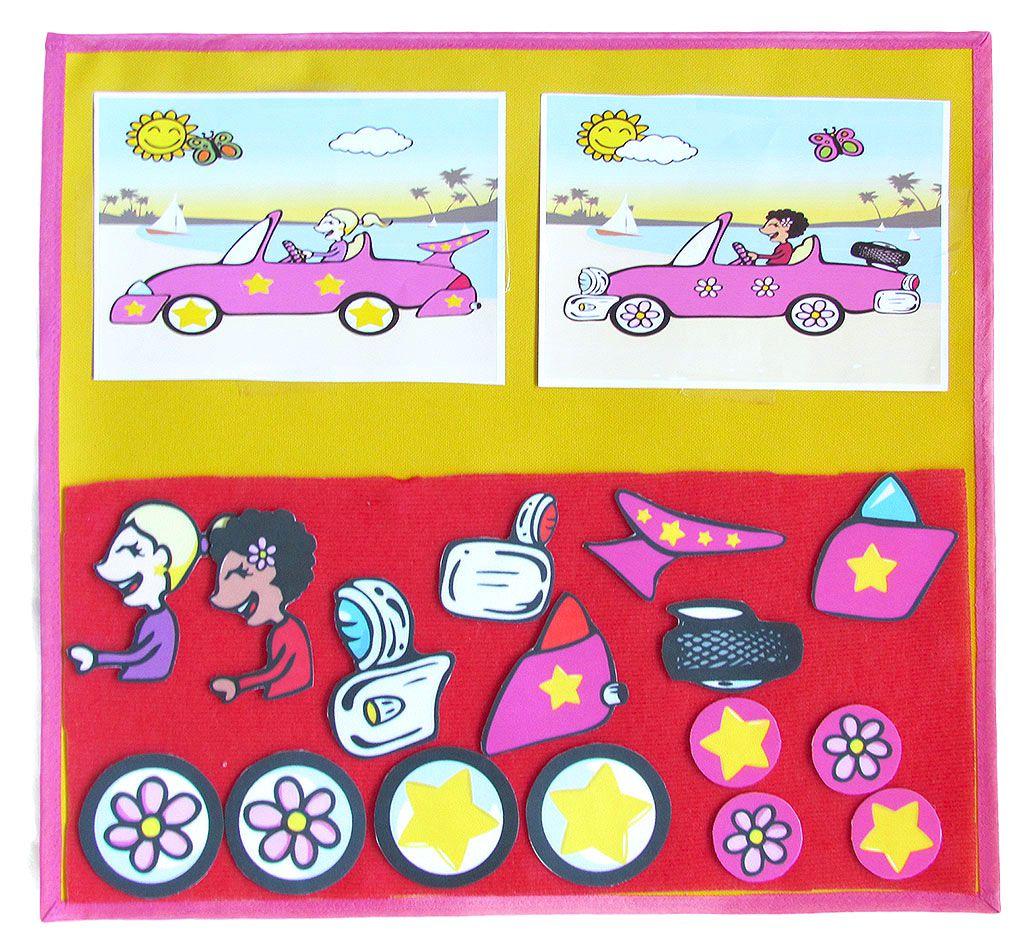 Quadro Interativo Monte o Carro • Meninas