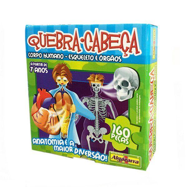 Quebra-Cabeça Corpo Humano 80 Peças - Esqueleto e Órgãos