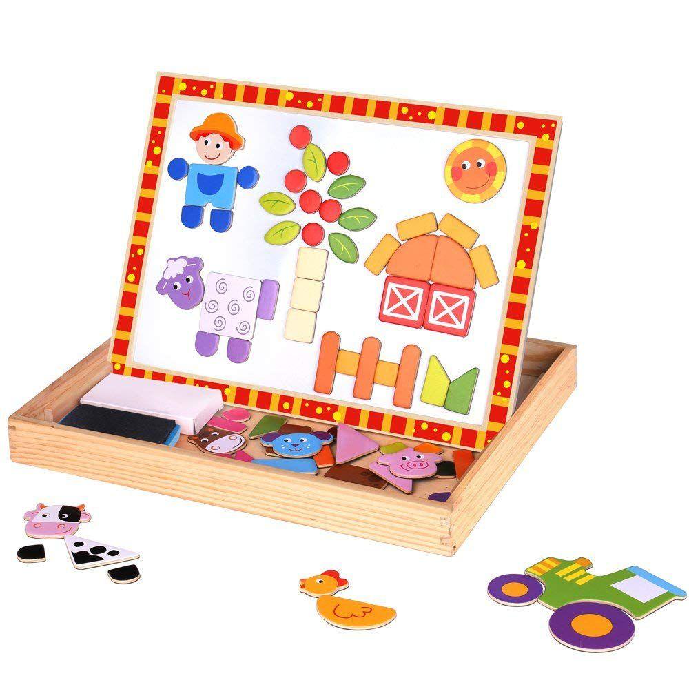 Lousa Magnética Infantil e Quebra-Cabeça Fazenda 2 em 1- Tooky Toy