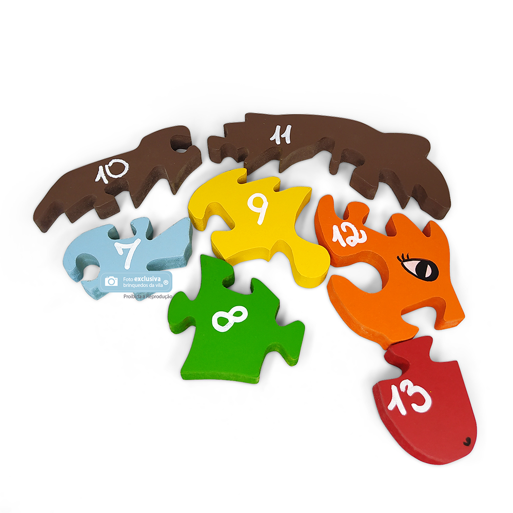 Quebra Cabeça Educativo de Cavalo com Letras do Alfabeto e Números 26 Peças Coloridas - Fábrika dos Sonhos