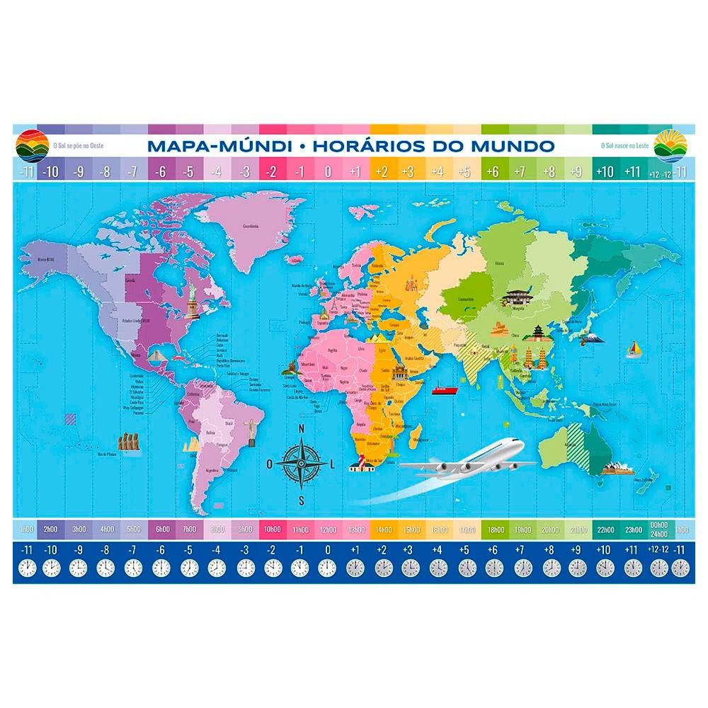 Quebra-Cabeça Horários do Mundo 200 Peças - Grow