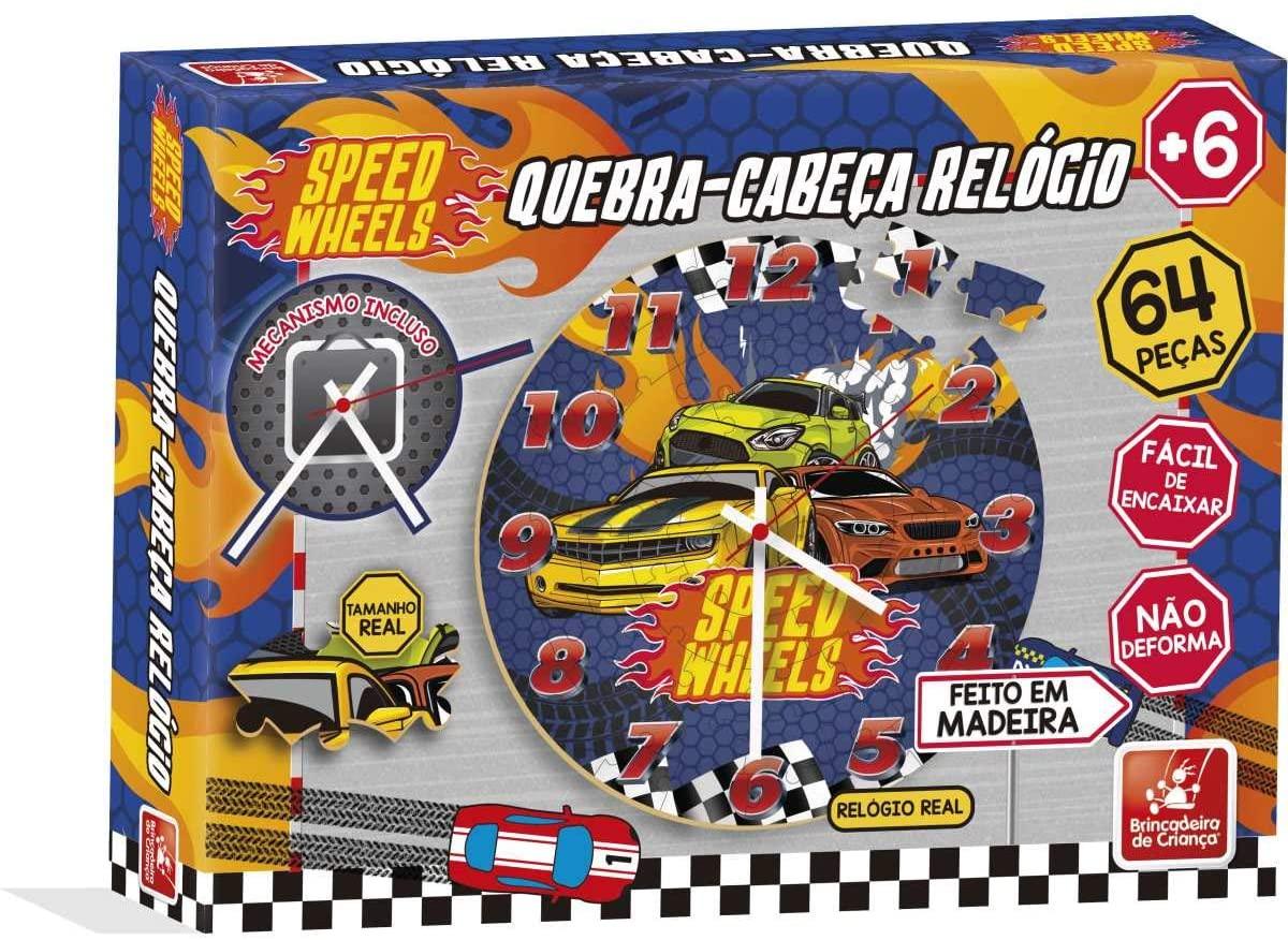 Quebra-Cabeca Madeira Speed Wheels Relogio