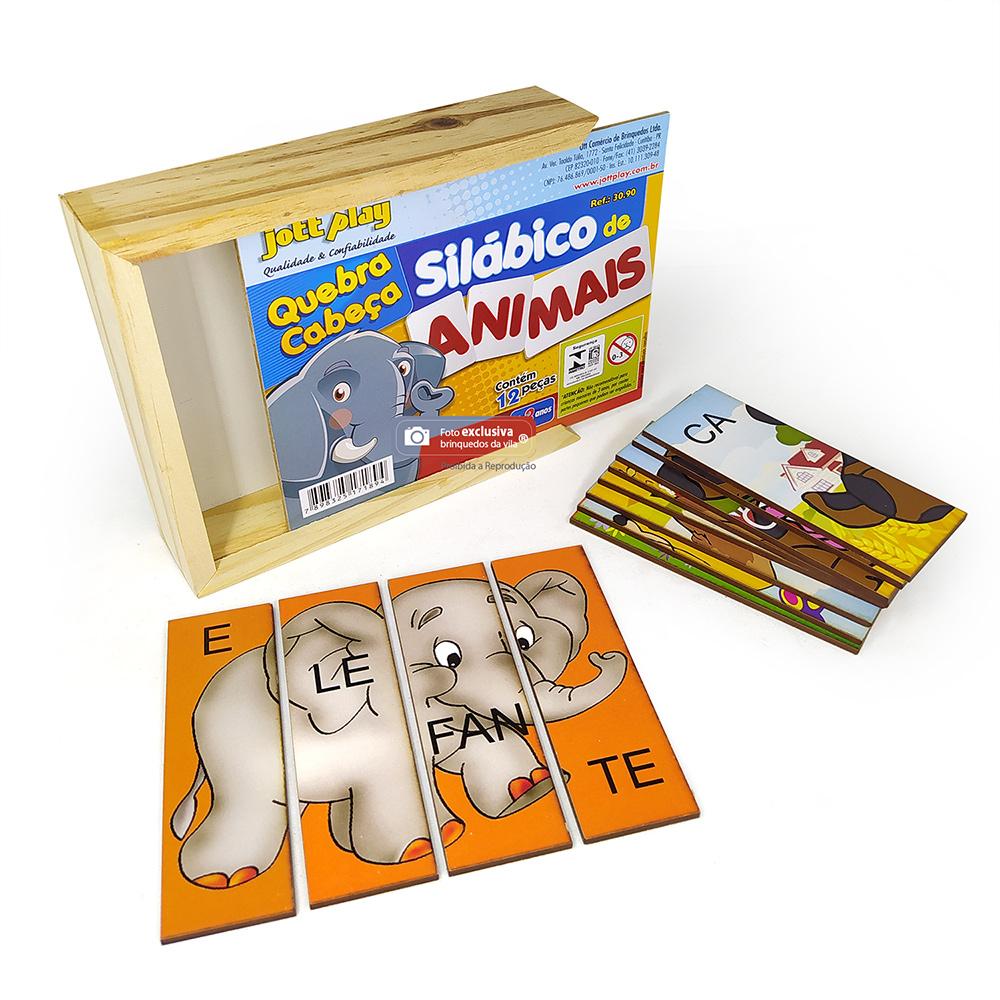Quebra Cabeça Silábico de Animais com 12 Peças em Madeira - Jott Play