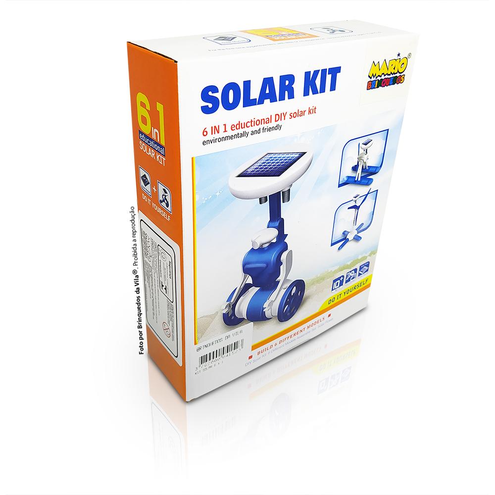 Solar Kit 6 em 1 Brinquedo Educativo e Científico com 6 Experimentos Solares e Robótica - Mario Brinquedos