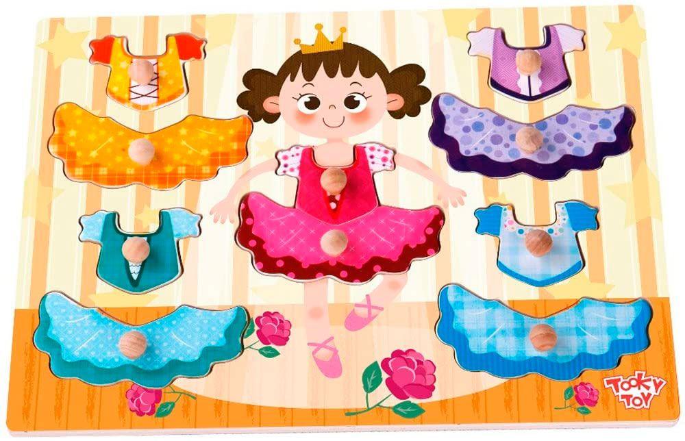 Tabuleiro De Encaixe Veste Menina Em Madeira - Tooky Toy