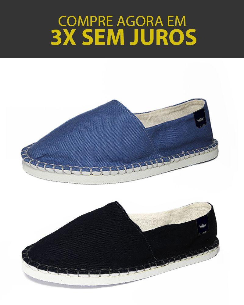 Kit 2 Pares de Alpargatas Relax MONARCA Azul Royal e Preta