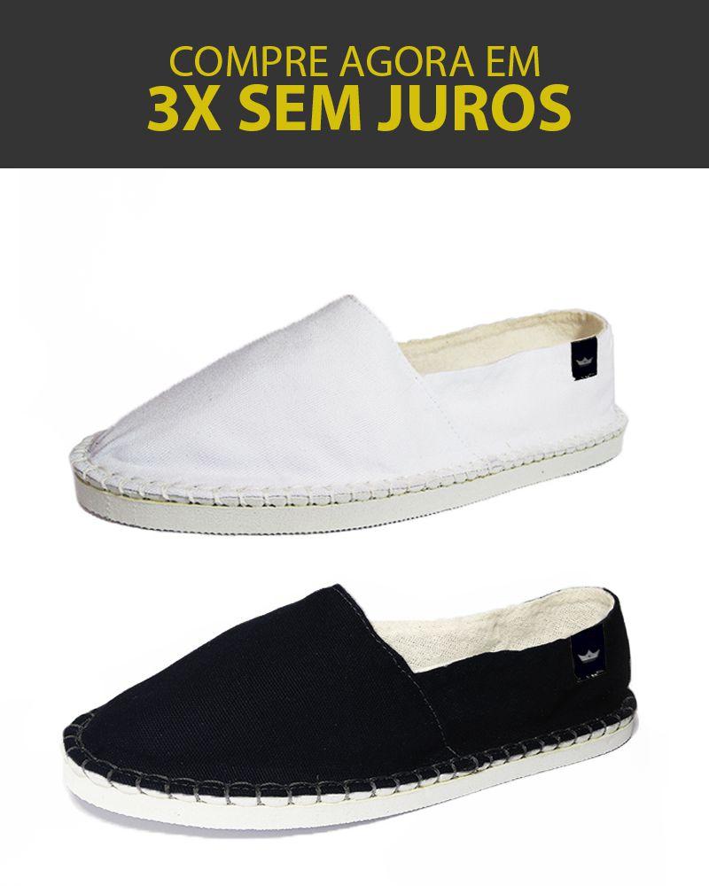 Kit 2 Pares de Alpargatas Relax MONARCA Branca e Preta