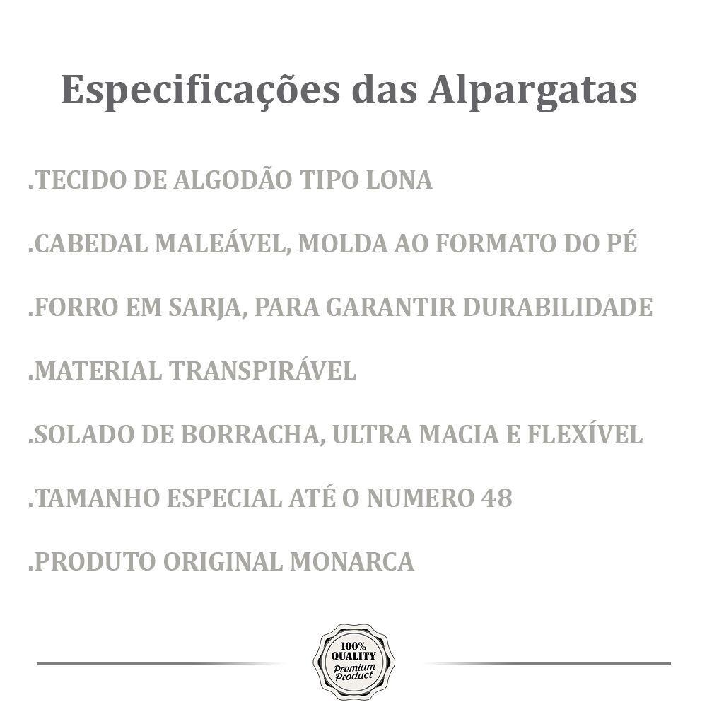 Kit 2 Pares de Alpargatas Relax MONARCA Cinza Moletom e Preta