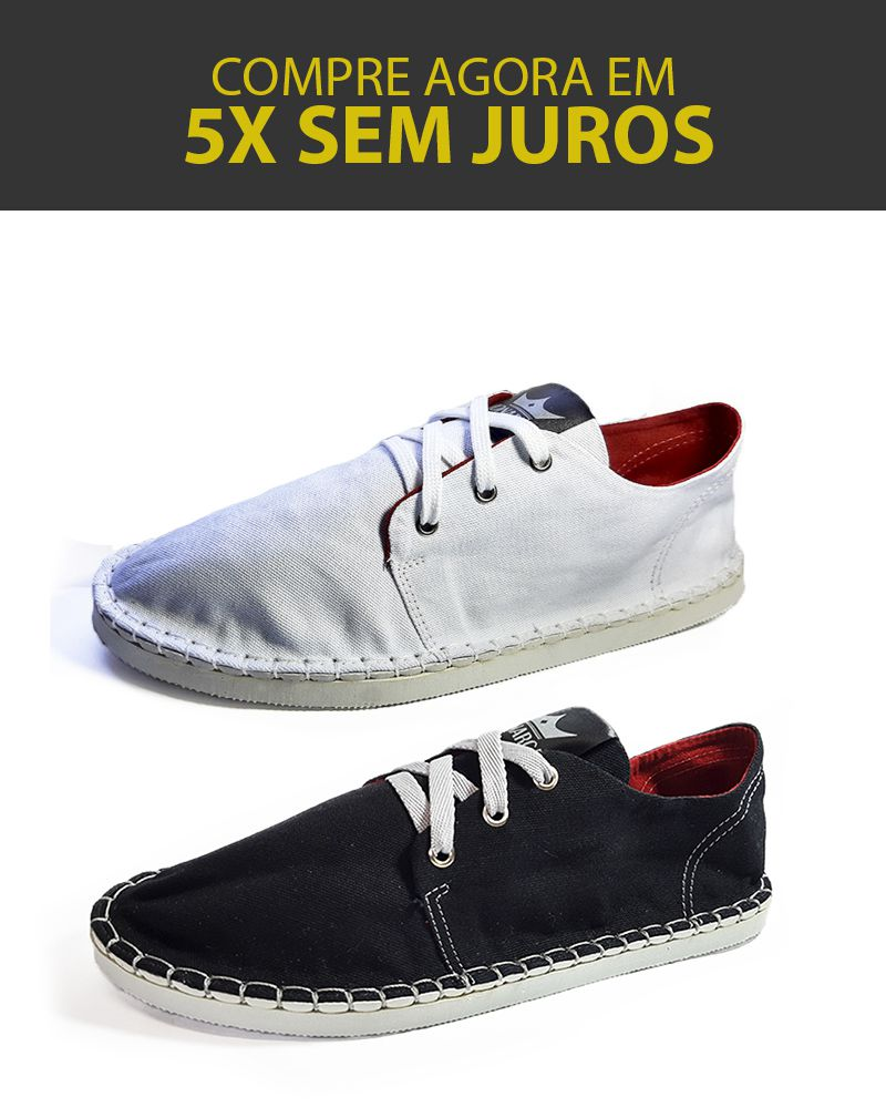 Kit 2 Pares de Tênis Casual MONARCA Urban Branco e Preto