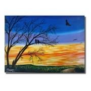Pintura manual de quadro em óleo - Pássaros nos galhos 61 x 85 cm