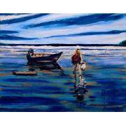 Quadro com pintura em óleo  48 x 57 cm em moldura