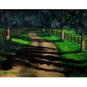 Quadro com pintura em óleo decorativo 48 x 57 cm com moldura
