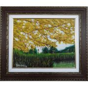 Quadro com pintura em óleo de 48 x 57 cm com moldura