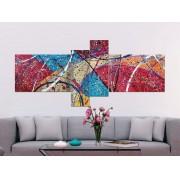 """Quadro decorativo abstrato """"Echoes"""" com 4 peças vermelho, bege, verde, laranja"""