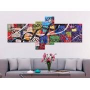 Quadro decorativo Heredita genetiko com 4 peças multcolorido
