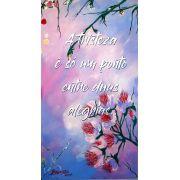 Quadro floral pintado a mão com frase - 34 x 61 cm