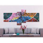 Quadro painel decorativo com touro abstrato 4 peças azul rosa verde bege vermelho