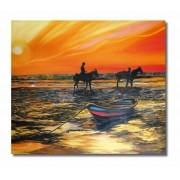 Quadro para parede decorativo figurativo cavalos na praia